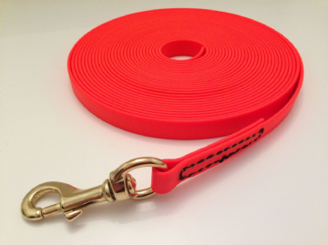 Biothane® ORANGE Tracking Lead - with brass snap hook no handle